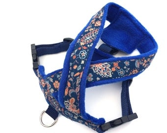 Blue floral harness.