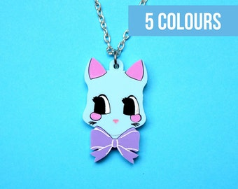 Kitsch retro kitty cat necklace | Vintage style cat | Pink blue kitten necklace | Cute cat | Cat lady | 50s kitsch necklace | Cutesy cat