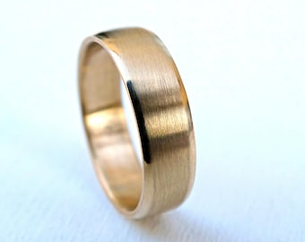 mens wedding ring gold modern gold ring domed rose gold wedding band mens - Mens Gold Wedding Rings