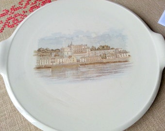 Digoin Sarreguemines/dish to pie/flat in cake/Amboise/vintage/made in France/earthenware/stamped 2.