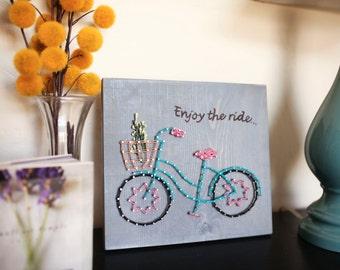 Enjoy the ride -Bicycle art -Bicycle gift -Bicycle wall art -Bike basket -Enjoy the Journey -Enjoy the little things -String Art