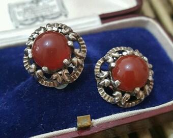 Vintage solid silver clip on earrings, carnelian gemstones, retro design