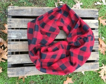 Red and Black Buffalo Plaid Infinity Scarf