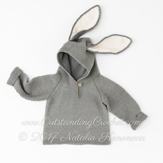 Animal Hoodie Knitting Pattern : Sweater Knitting Pattern Bunny Ears Hoodie by ...