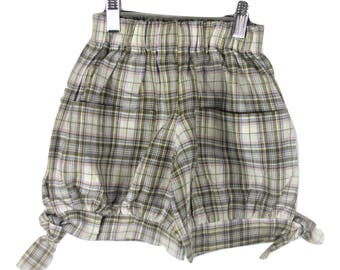 Green check linen shorts