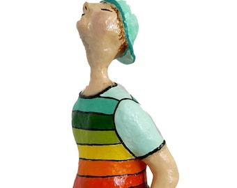 The wistling guy, Paper Mache, Paper Mache art, sculpture, Home and office décor, Unique handmade Gift, Art sculpture, Shelf decor, OOAK