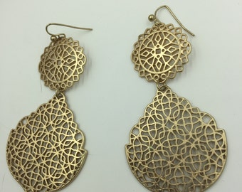 Snowflake or Leaf Like Gold Tone Dangle Earrings BUY 3 Get 1 FREE