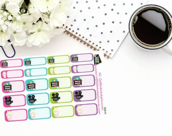 Planner Stickers| Movie Night Stickers|Family Movie Night Stickers|Movie Tracking Stickers|For use in a variety of planners| S005-HV