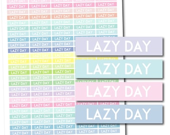 Lazy day planner stickers, Lazy day stickers, Printable Lazy day stickers, Pastel Lazy day header stickers, Pastel stickers, STI-1107