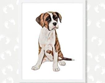 Boxer Dog Painting Puppy Nursery Decor Boxer dog gift Pet Portrait Watercolor Animal Prints Nursery Boxer Mom Instant Download Digital Print