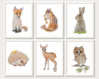 Woodland Nursery Print Set Gender Neutral Nursery Decor Baby Animal Watercolor Paintings Art for Kids Room Forest Prints Woodland Creatures