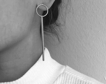 Circle earrings with long dangle bar