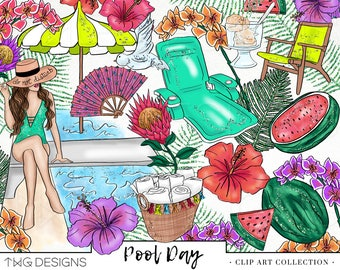 Fashion Girl Clip Art Watercolor Clipart PNG Pool Summer Tropical Flower Hand Drawn Babe Illustration Planner Sticker Graphics Basic License