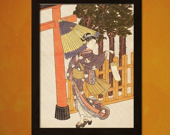 Women Visiting the Shrine in the Night - Suzuki Harunobu Print Ukiyo-e Poster Edo Period Poster Gift Idea Japanese Print