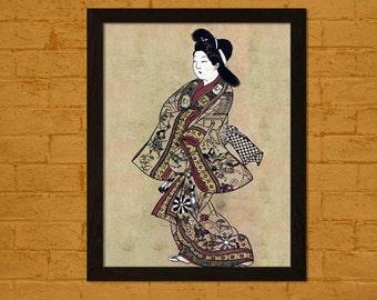 Ukiyo-e Vintage Fine Art Print Retro Wall Home Japanese Art Oriental Art Geisha Japanese Woman Edo Period
