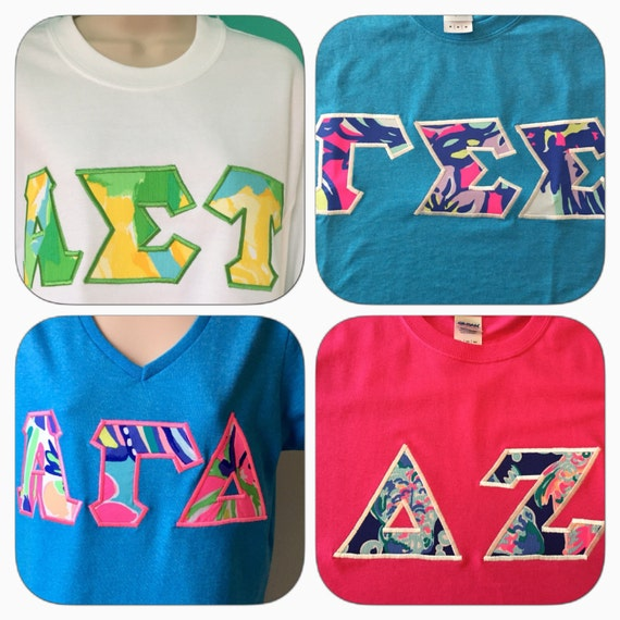 Lilly pulitzer sorority letter shirts by for Lilly pulitzer sorority letters