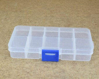 Plastic Storage organizer Container Box Case, 10 Compartments for Beads/Charms/Beads Size 2.5x5 Inches, 128x65mm