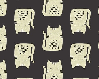 Maker Maker Linen CATS BLACK by Sarah Golden for Andover Fabrics - 1/2 yard