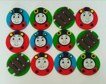24 x Thomas the Tank Engine Fondant cupcake toppers - thomas, percy, railway