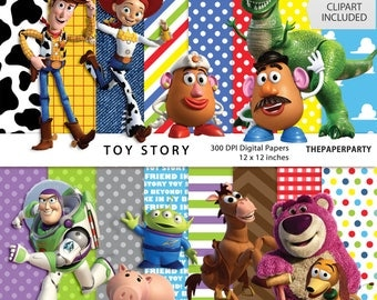 TOY STORY 16 inspired Commercial use Digital scrapbook papers 12 x 12 inches clip art included