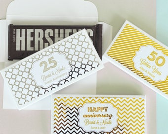 Personalized Birthday, Anniversary Metallic Foil Candy Wrapper Covers - 24 pieces