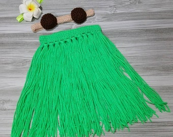 Hawaiian Hula Dancer Crochet Toddler Photo Prop Costume with Headband, Plumeria Clip, Coconut Bra, and Grass Skirt