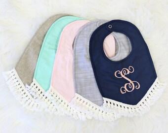 Fringe Tassel Boho Baby Girl Bib    Navy, Linen, Mint, Blush, Gray, Sweet, Pastel, Lace, Vintage Baby Girl Bib