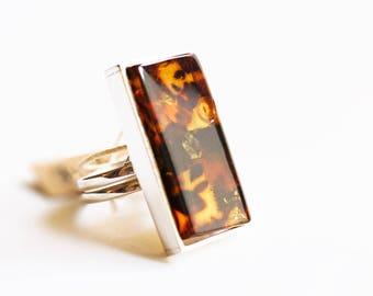 Handmade Baltic Amber Ring 10g.