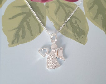 Angel Necklace, Sterling Silver Angel Necklace, Silver Angel Necklace, Angel Charm, Gift For Her