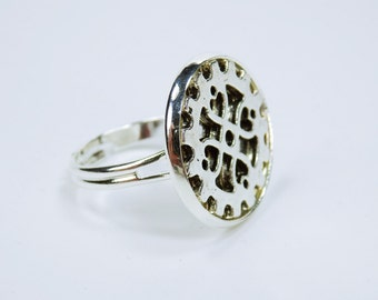 Ring gear steampunk ring with silver gear steampunk gears vintage look retro jewelry