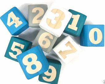 Children's Teal Number Blocks, Wood Block Toys, Wood Number Blocks, Wooden Blocks, Non-Toxic Wood Toys, Baby Wood Blocks, Baby Toys