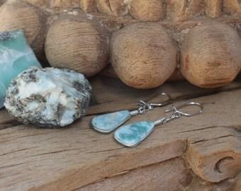 Larimar earrings, larimar earrings with wire
