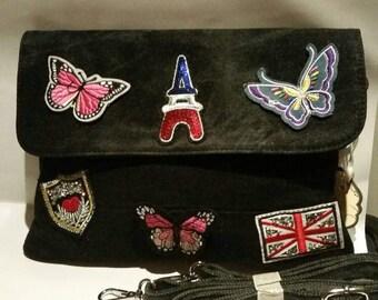 A women stylish trendy black greyish denim patch badge clutch purse bag handbag