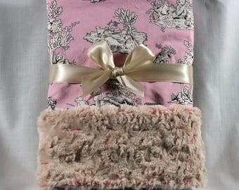 Minky Baby Blanket, Pink crib blanket with rose plush.