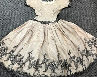 Stunning 1950s Rappi Netted Lace Dress XS/S