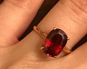 Massive vintage rose gold Garnet engagement ring