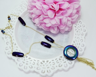 Necklace of crystals, necklace of stones litmus necklace with stones, necklace with tassel, long necklace with stones