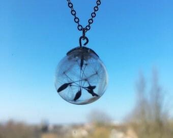 Dandelion (dandelion) necklace ball blown verre(diametre environ 1.6cm) full of dandelions (dandelion)