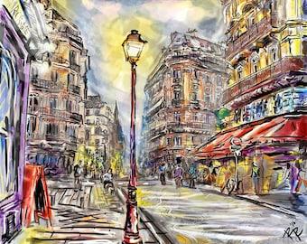 Paris Art, Parisian Painting, Cityscape, French Art