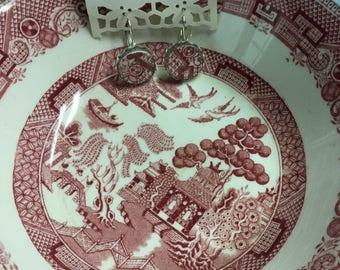 Broken china Pink Willow earrings #122