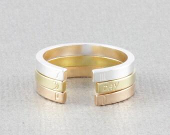 skinny staking personlized ring, name ring, initial ring, date ring, word ring, coordinates ring, skinny band ring (W002)