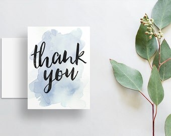 instant download watercolor splash thank you cards // pale blue watercolor // hand lettering // printable digital files thank you notes