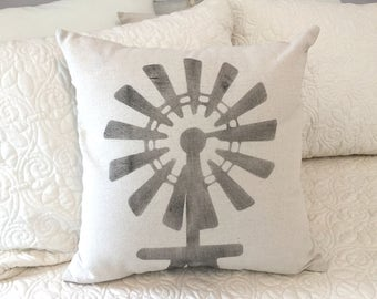 Windmill farmhouse style pillow cover - windmill pillow - farmhouse decor - decorative throw pillow cover
