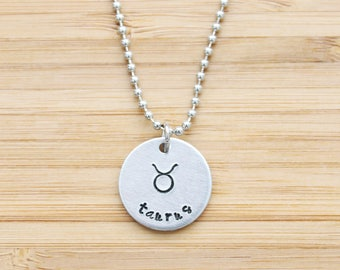 hand stamped charm necklace | zodiac - large