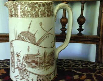 Brown and White Transferware pitcher