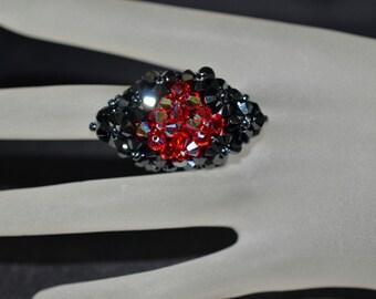 Swarovski crystal ring hematite 2x - light siam ab - style marquise