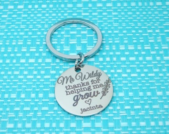 Thanks For Helping Me Grow Keychain, Personalized Gift, Mentor Gift, Teacher Gift, Teacher Appreciation, Gifts for Him, End of Year Gift
