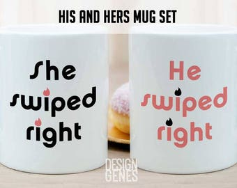 Tinder mug set, she swiped right mug, He swiped right, personalized gift for her, i swiped right, tinder gift, personalized wedding gift