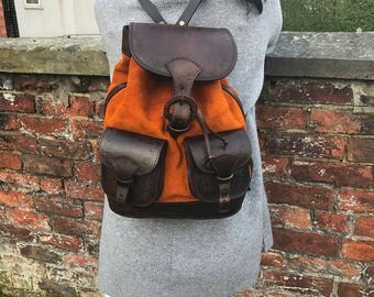 Rocio rucksack in burnt orange suede and brown leather