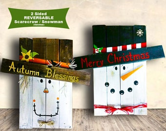 Scarecrow Pallet Signs - Fall Signs - Autumn Blessings and Merry Christmas - 2 Sided Wood Sign - Hand Painted - Fall Decor